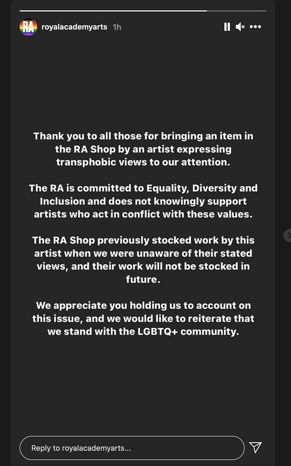 The RA made a statement on Instagram
