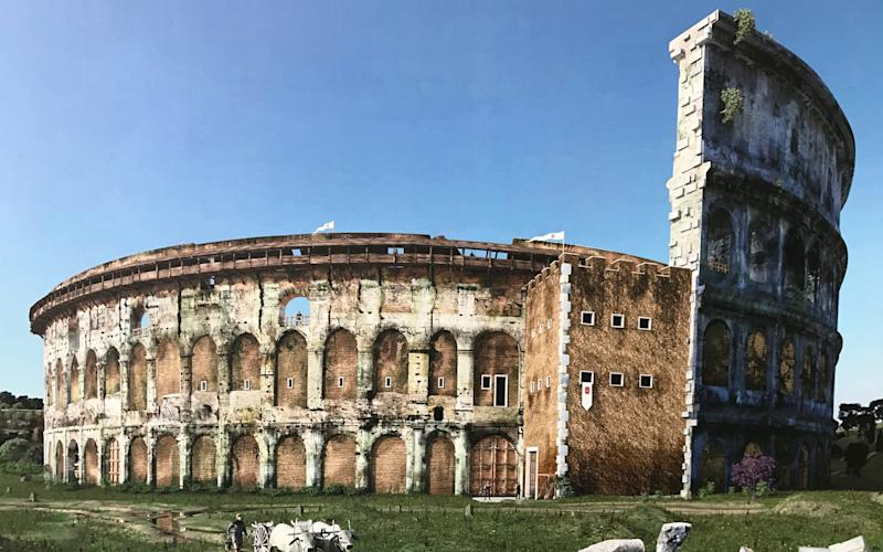 An artist's impression of the timber walkway used by soldiers guarding the medieval fortress that was built into the side of the Colosseum - Colosseum exhibition