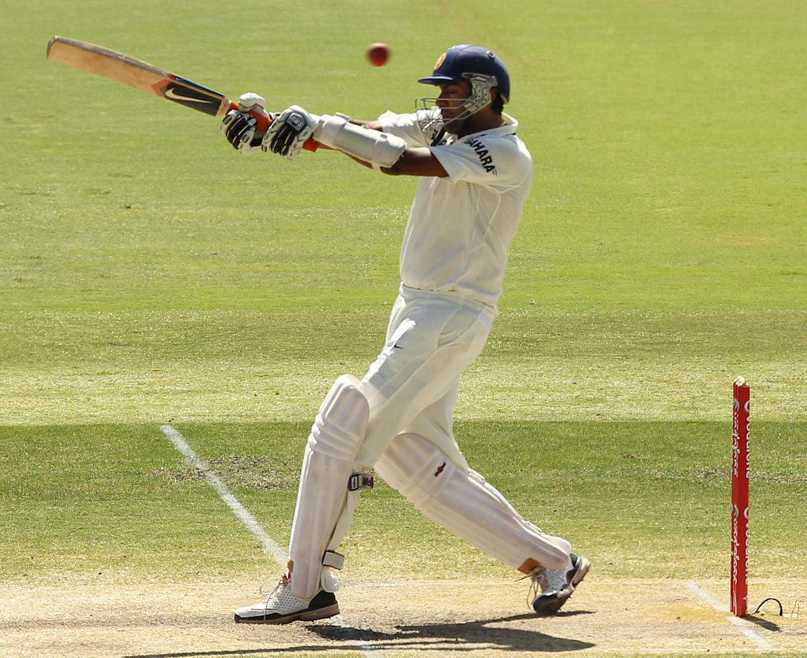 Indian batsmen Ravichandran Ashwin attempts to pull a shot against Australia during the fourth cricket Test match at the Adelaide Oval on January 28, 2012. Australia won by 298 runs. (TONY ASHBY/AFP/Getty Images)