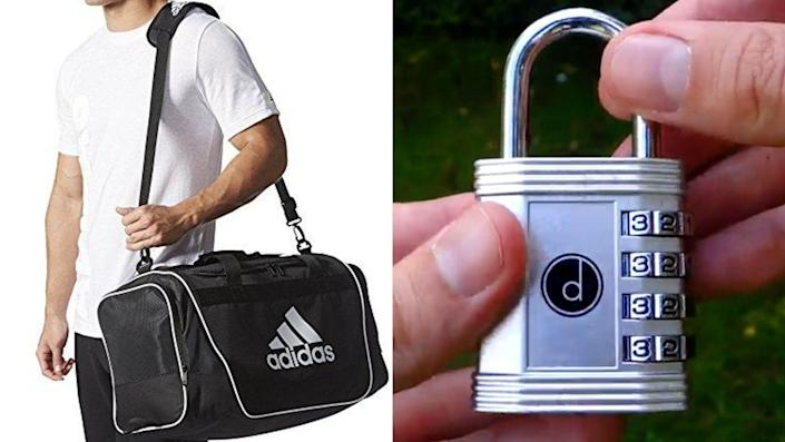 Best health and fitness gifts 2021: Adidas Defender Duffel Bag and Desired Tools 4 Digit Combination Padlock