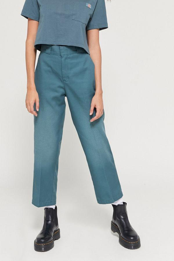 """How cool are these blue Dickies? We love a good monochromatic moment! $59, Urban Outfitters. <a href=""""https://www.urbanoutfitters.com/shop/dickies-uo-exclusive-high-waisted-ankle-pant2"""">Get it now!</a>"""