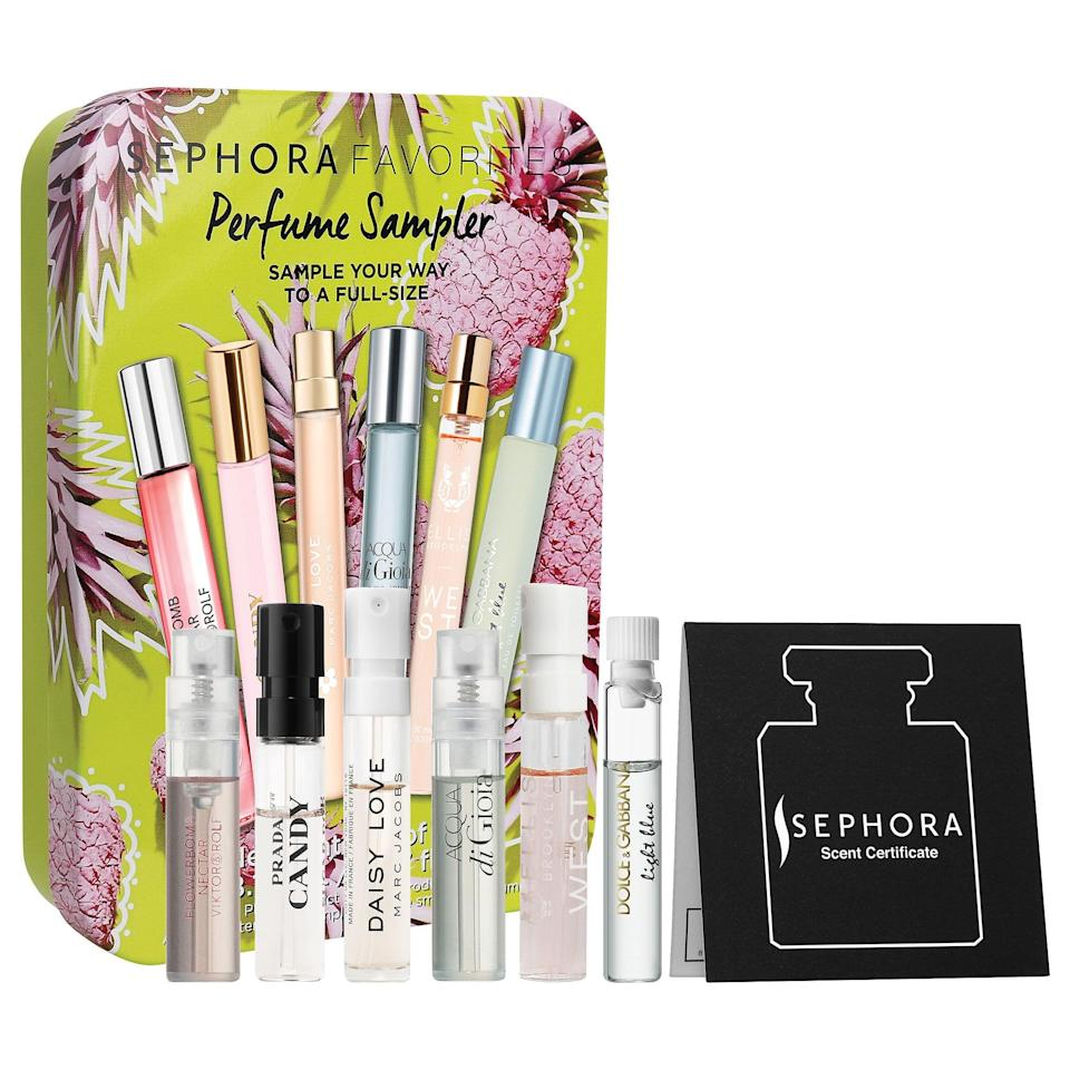 "<p>This new <a href=""https://www.popsugar.com/buy/Sephora-Favorites-Mini-Perfume-Sampler-Set-568862?p_name=Sephora%20Favorites%20Mini%20Perfume%20Sampler%20Set&retailer=sephora.com&pid=568862&price=25&evar1=bella%3Aus&evar9=47425767&evar98=https%3A%2F%2Fwww.popsugar.com%2Fphoto-gallery%2F47425767%2Fimage%2F47425769%2FSephora-Favorites-Mini-Perfume-Sampler-Set&prop13=api&pdata=1"" class=""link rapid-noclick-resp"" rel=""nofollow noopener"" target=""_blank"" data-ylk=""slk:Sephora Favorites Mini Perfume Sampler Set"">Sephora Favorites Mini Perfume Sampler Set</a> ($25) is full of mini summery scents from Marc Jacobs, Viktor&amp;Rolf, Ellis Brooklyn, and others, plus a certificate to get your favorite later as well.</p> <p><em>Love all things beauty? Can't get enough products? Come join our Facebook Group, <a href=""https://www.facebook.com/groups/389401751481325/"" class=""link rapid-noclick-resp"" rel=""nofollow noopener"" target=""_blank"" data-ylk=""slk:Real Reviews With POPSUGAR Beauty"">Real Reviews With POPSUGAR Beauty</a> There are lots of fun conversations happening there, as well as all the product recommendations you could ask for - not just from us, but also community members, too.</em></p>"