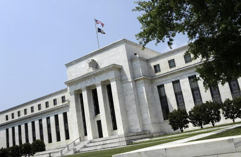 The Federal Reserve building is seen in Washington