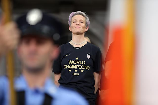Megan Rapinoe has used the stage of the national anthem as an opportunity for peaceful protest. (Reuters)