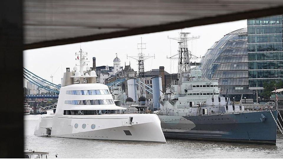 """""""Motor Yacht A,"""" pictured on the Thames in London in 2017"""