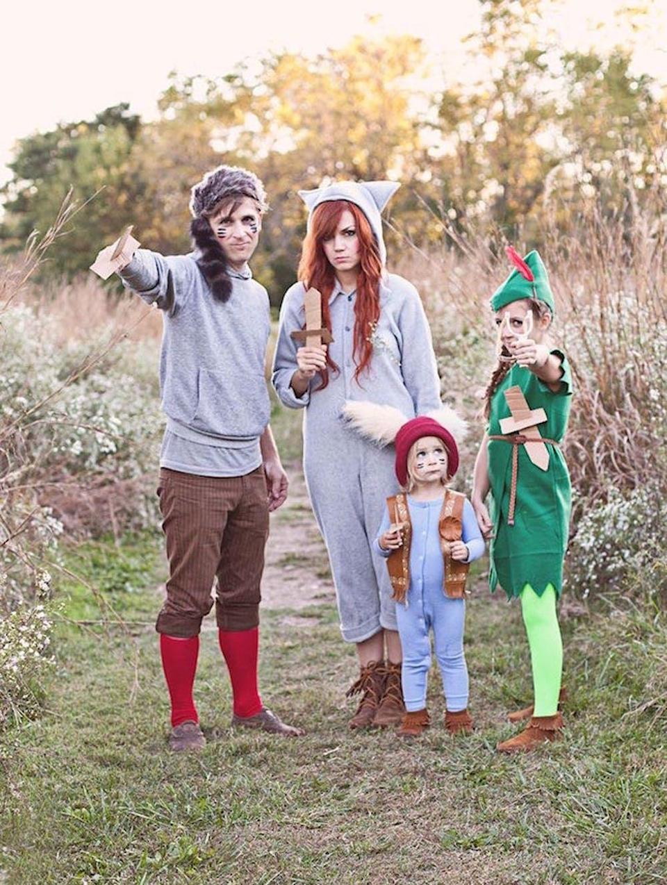 """<p>There's no need to grow up if you're donning this cute outfit! You'll be surprised at just how easy it is to craft your own <em>Peter Pan</em> costume—hat and all. </p><p><strong>Get the tutorial at <a href=""""https://abeautifulmess.com/2013/10/peter-pan-and-the-lost-boys-costume-diy.html"""" rel=""""nofollow noopener"""" target=""""_blank"""" data-ylk=""""slk:A Beautiful Mess"""" class=""""link rapid-noclick-resp"""">A Beautiful Mess</a>. </strong></p><p><a class=""""link rapid-noclick-resp"""" href=""""https://www.amazon.com/Hunter-Green-Oversized-Sheet-Blend/dp/B072FFFM76?tag=syn-yahoo-20&ascsubtag=%5Bartid%7C10050.g.29074815%5Bsrc%7Cyahoo-us"""" rel=""""nofollow noopener"""" target=""""_blank"""" data-ylk=""""slk:SHOP GREEN FELT"""">SHOP GREEN FELT</a></p>"""