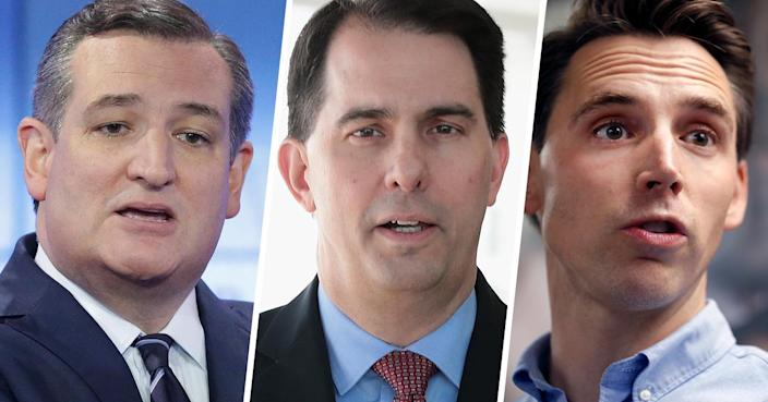 From left: Sen. Ted Cruz, R-Texas, Wisconsin Gov. Scott Walker and Missouri Attorney General and Republican Senate candidate Josh Hawley. (Photos: Tom Reel/Pool/Getty Images; Scott Olson/Getty Images; Jeff Roberson/AP)