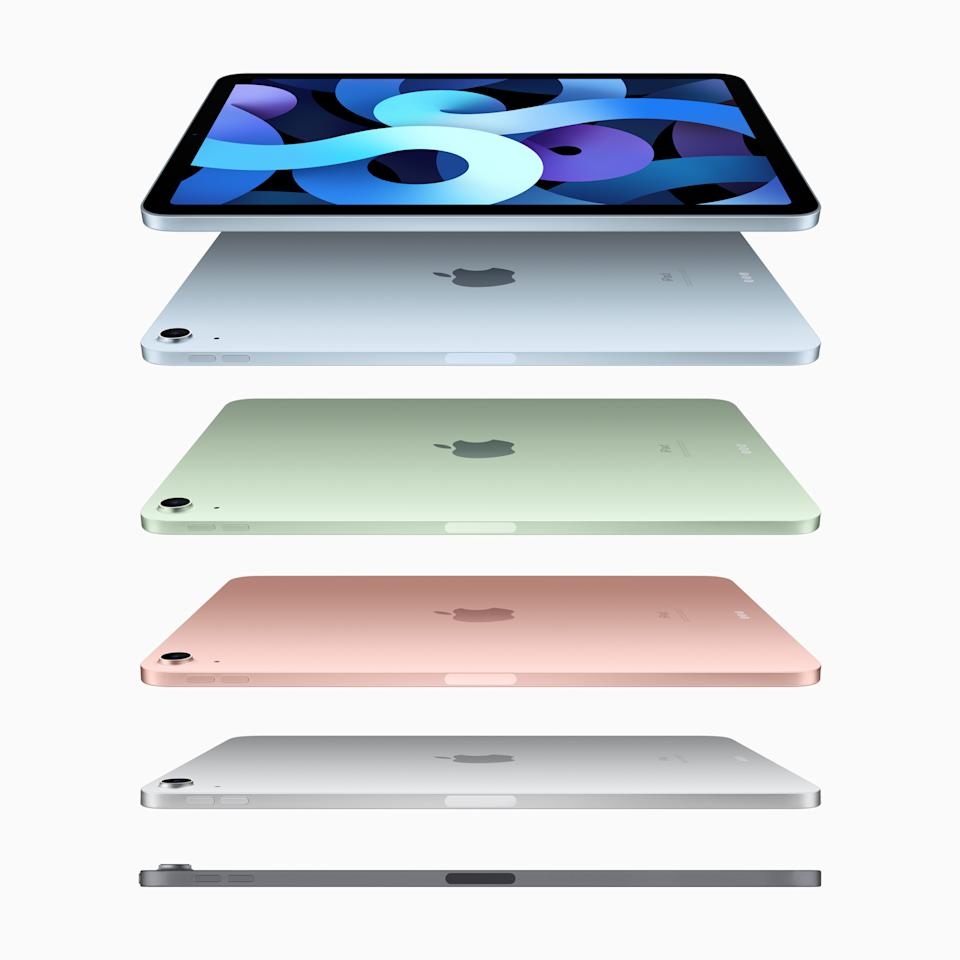 The new iPad Air features a completely new thin and light design in five gorgeous finishes: silver, space grey, rose gold, green, and sky blue. (PHOTO: Apple)