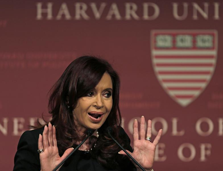 Argentine President Cristina Fernandez gestures during an address at Harvard University's Kennedy School of Government in Cambridge, Mass., Thursday, Sept. 27, 2012. (AP Photo/Charles Krupa)