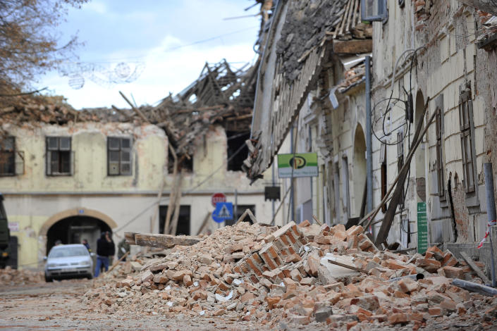 A view of buildings damaged in an earthquake in Petrinja, Croatia, Tuesday, Dec. 29, 2020. A strong earthquake has hit central Croatia and caused major damage and at least one death and some 20 injuries in the town southeast of the capital Zagreb. (AP Photo)