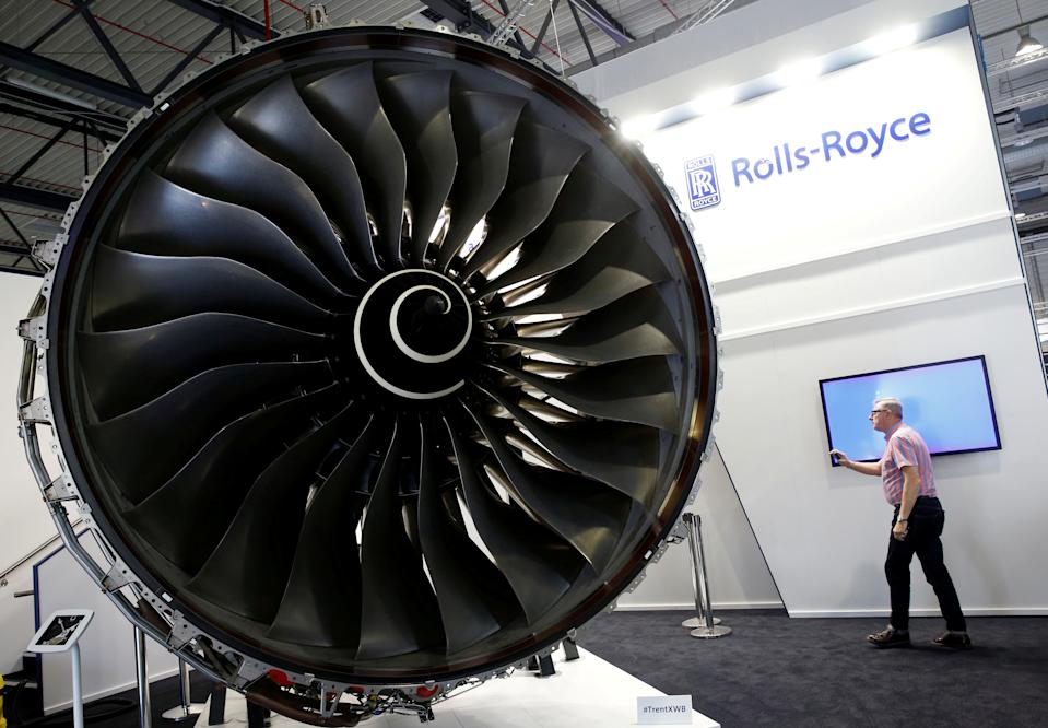 A Rolls-Royce Trent XWB aircraft engine is pictured at their booth at the ILA Berlin Air Show in Schoenefeld, Germany, May 31, 2016. REUTERS/Fabrizio Bensch/File Photo