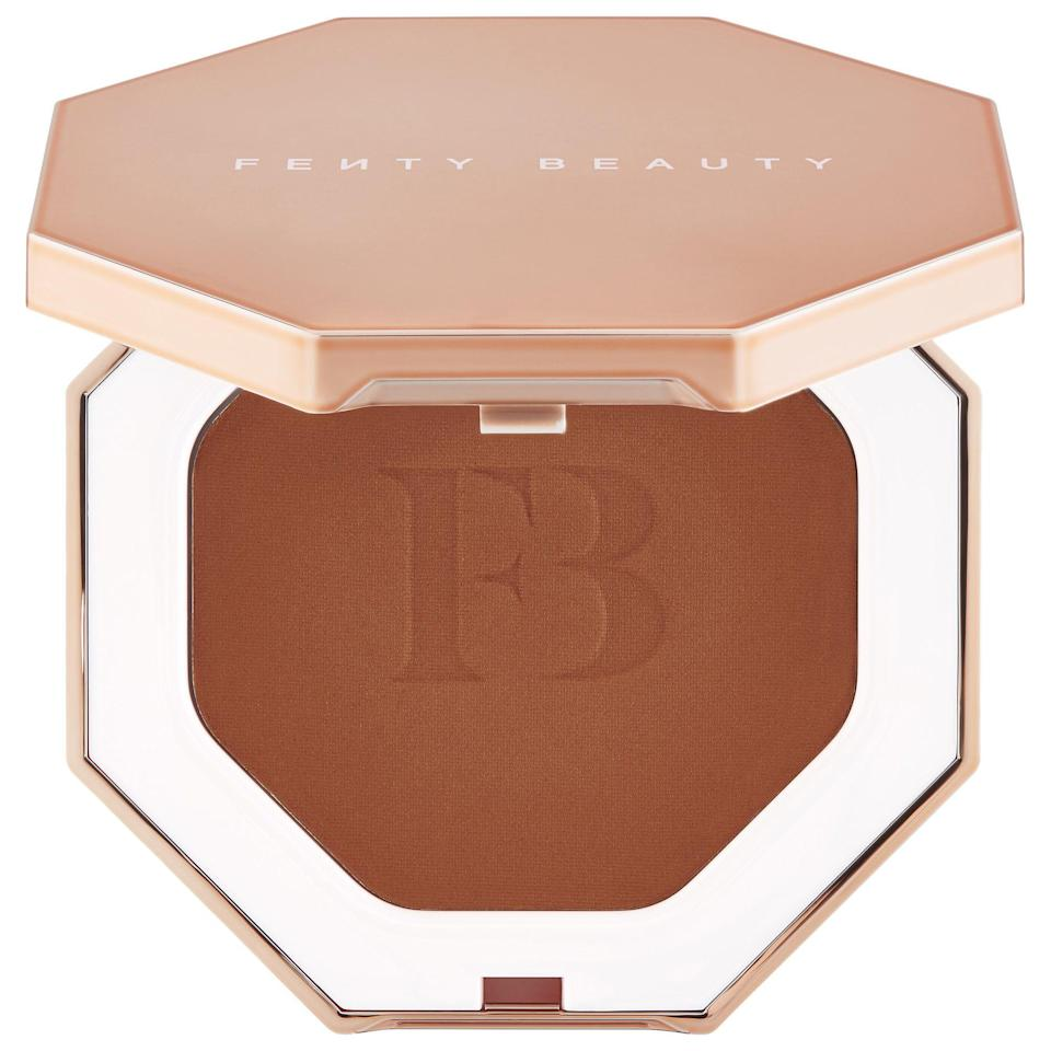 "<p><strong>FENTY BEAUTY by Rihanna</strong></p><p>sephora.com</p><p><strong>$30.00</strong></p><p><a href=""https://go.redirectingat.com?id=74968X1596630&url=https%3A%2F%2Fwww.sephora.com%2Fproduct%2Fsun-stalk-r-instant-warmth-bronzer-P55978864&sref=https%3A%2F%2Fwww.bestproducts.com%2Fbeauty%2Fg33807456%2Fbronzers-for-dark-skin%2F"" rel=""nofollow noopener"" target=""_blank"" data-ylk=""slk:Shop Now"" class=""link rapid-noclick-resp"">Shop Now</a></p><p>If you're all about the mattes, then we recommend this bronzer. It has a lightweight feel but a major impact, as it will seriously warm up your complexion. It also subtly sculpts for a fresh and youthful look. This bronzer wins points for having the most impressive shade range with a whopping eight hues to choose from.</p>"