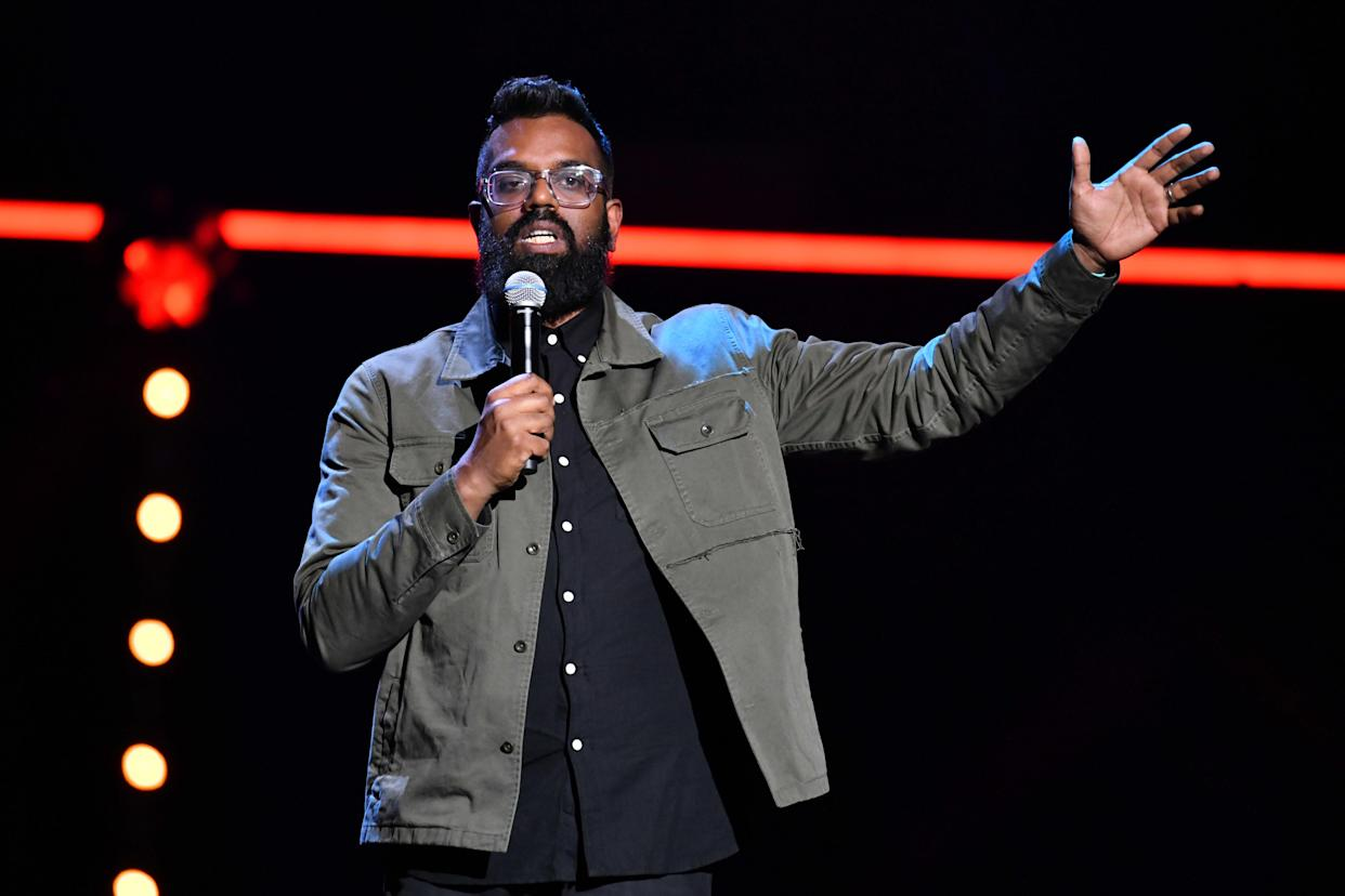 Romesh Ranganathan performing during the Teenage Cancer Trust comedy night, at the Royal Albert Hall, London. Picture date: Wednesday March 27, 2019. Photo credit should read: Matt Crossick/Empics