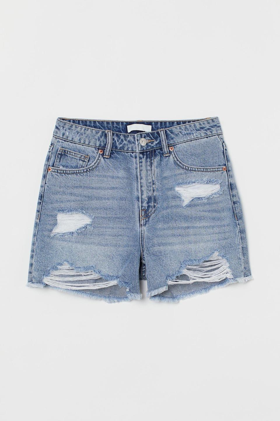 <p>If you're looking for a distressed pair, snag these cool <span>H&amp;M Denim High Waist Shorts</span> ($30).</p>