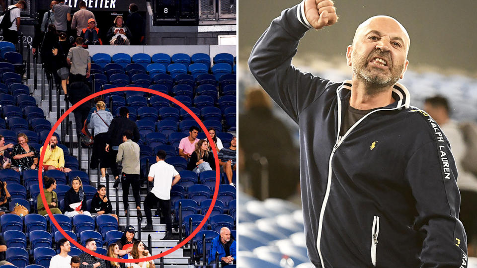 Fans, pictured here being forced to leave Novak Djokovic's match at the Australian Open.