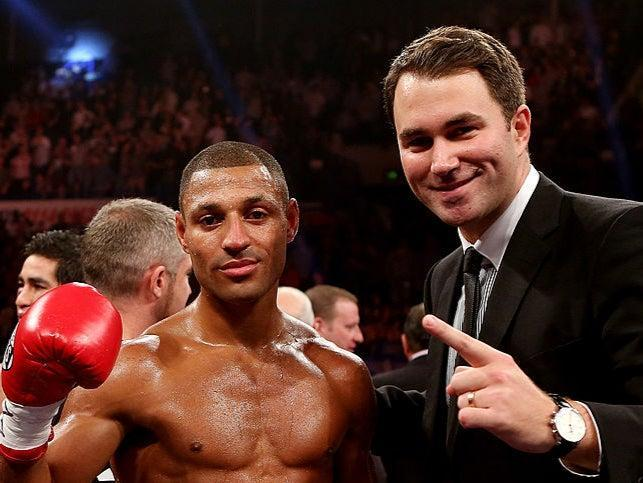 Kell Brook celebrates his victory over Hector Saldivia with Eddie Hearn (Getty)