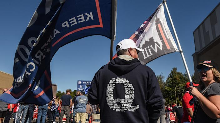 A person wears a QAnon sweatshirt during a pro-Trump rally on October 3, 2020 in the borough of Staten Island in New York City. (Stephanie Keith/Getty Images)