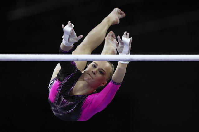Angelina Melnikova of Russia performs on the uneven bars in the women's all-around final at the Gymnastics World Championships in Stuttgart, Germany, Thursday, Oct. 10, 2019. (AP Photo/Matthias Schrader)