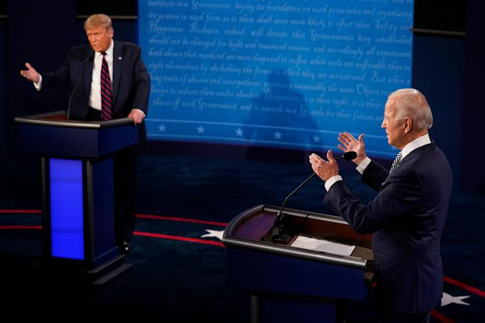 CLEVELAND, OHIO - SEPTEMBER 29: U.S. President Donald Trump and former Vice President and Democratic presidential nominee Joe Biden speak during the first presidential debate at the Health Education Campus of Case Western Reserve University on September 29, 2020 in Cleveland, Ohio. / Credit: / Getty Images