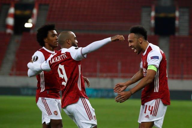 Pierre-Emerick Aubameyang, right, scored twice in the win over Benfica