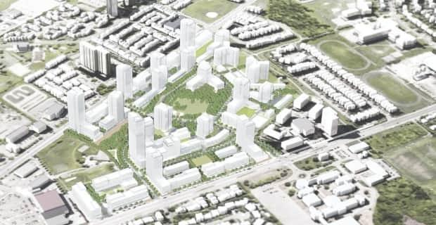 A rendering of Hazelview Investments' proposed development for Heron Gate between Walkley and Heron roads. (Hazelview Investments - image credit)