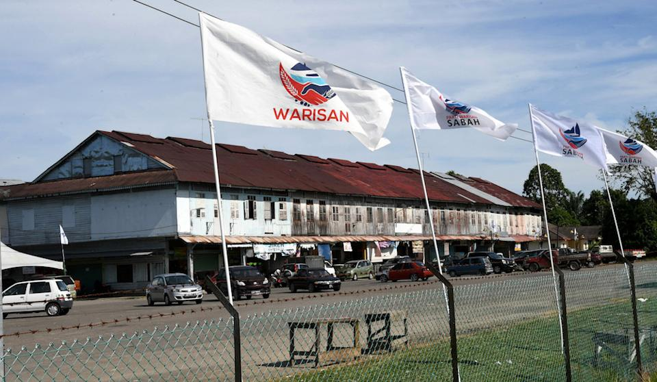 Warisan flags are seen in Membakut Old Town January 7, 2020 ahead of the Kimanis by-election on January 18. — Bernama pic