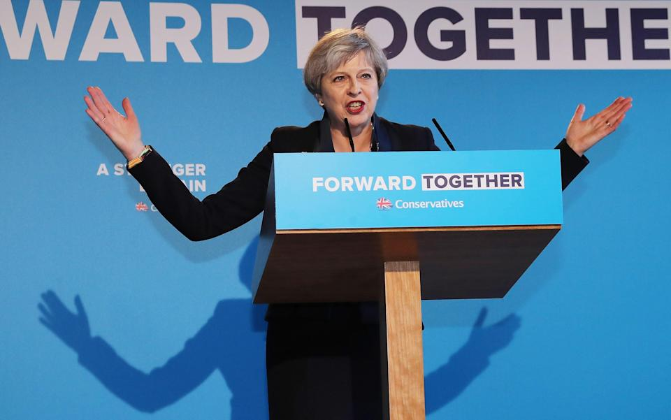 Theresa May launches the Conservative Party Election Manifesto - Credit: Getty