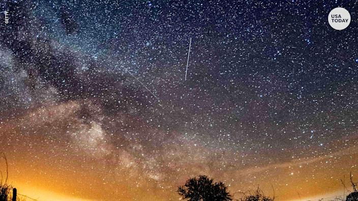A Lyrid meteor streaks across the night sky. The annual Lyrid meteor shower peaks this year during the early morning hours of Thursday April 22.
