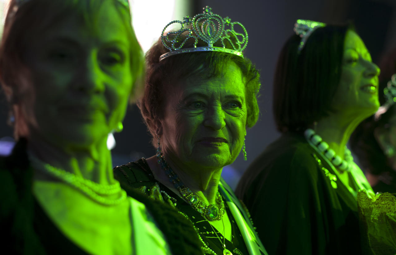 "Holocaust survivors participate in a beauty pageant, in the northern Israeli city of Haifa, Thursday, June 28, 2012. Fourteen women who lived through the horrors of World War II paraded on stage Thursday night in an unusual pageant, vying for the honor of being Israel's first ""Miss Holocaust Survivor."" (AP Photo/Sebastian Scheiner)"