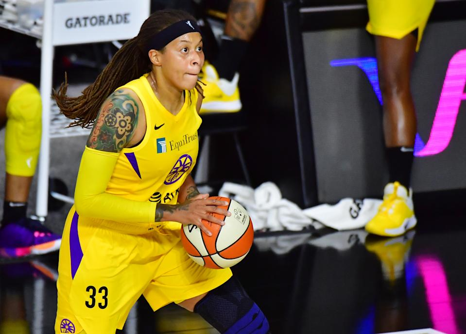 Seimone Augustus #33 of the Los Angeles Sparks looks to shoot the ball during the second half of a game against the Atlanta Dream at Feld Entertainment Center on August 21, 2020 in Palmetto, Florida. NOTE TO USER: User expressly acknowledges and agrees that, by downloading and or using this photograph, User is consenting to the terms and conditions of the Getty Images License Agreement. (Photo by Julio Aguilar/Getty Images)