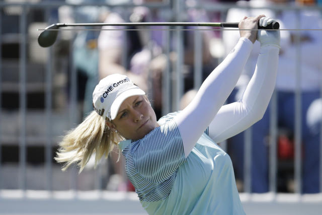 Brittany Lincicome tees off on the first hole during the final round of a LPGA golf tournament on Sunday, March 18, 2018, in Phoenix. (AP Photo/Rick Scuteri)