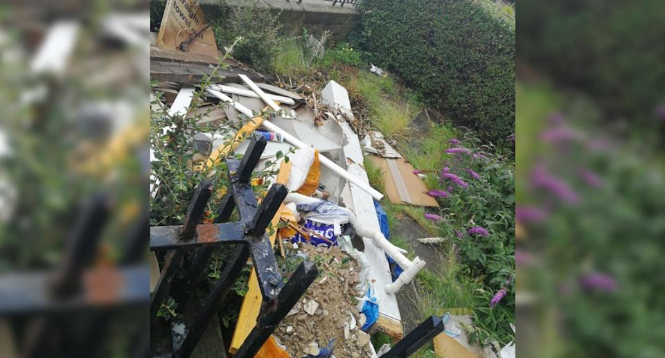 Ms Thomson tweeted an image of her front yard so the public could judge the mess for themselves. Source: Twitter/Keli Thomson