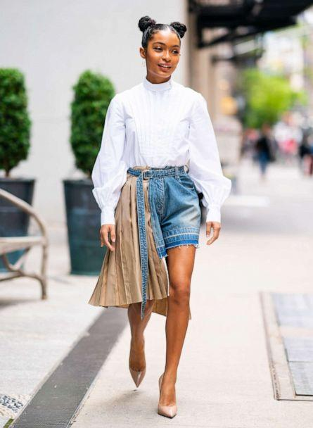 PHOTO: Yara Shahidi is seen wearing an Erdem shirt and Sacai shorts with Brian Atwood shoes in SoHo on May 16, 2019 in New York City. (GC Images/Getty Images)