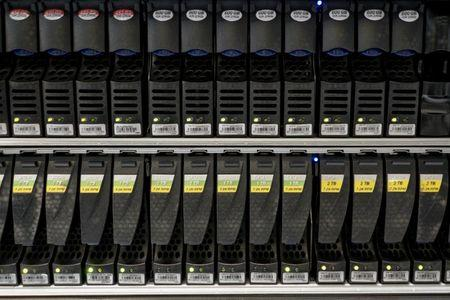 FILE PHOTO -  Hard disks are pictured inside a server room at a company in Bangkok