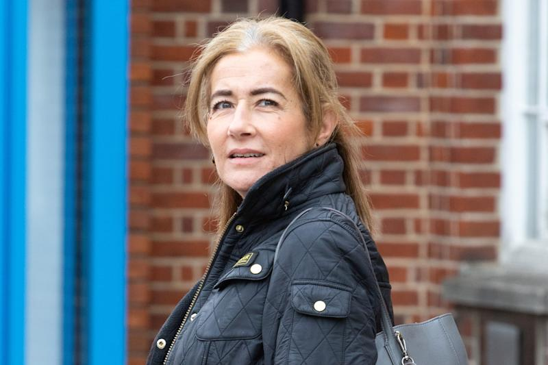 "FILE PHOTO - Emma Langford, 47, from Hampshire arrives at Uxbridge Magistrates Court, May 29, 2019. See NATIONAL story NNjumbo. A drunken British Airways passenger will go on trial today at Ealing Magistrates Court today, December 4, 2019. Emma Langford, 47, is alleged to have attacked three cabin crew members on board a BA jumbo jet flight to Cape Town in South Africa when she went on a drunken rampage after being refused a drink. Langford was forcibly restrained in her seat after storming the gallery and smashing crockery when staff refused to serve her booze, an earlier hearing was told. A cabin crew manager claimed that the businesswoman ""smelt of alcohol"" and ""puffed her chest out"" before starting to punch him in the gallery are of the Boeing 747-400. Langford has already admitted charges of being drunk on an aircraft, behaving in a threatening manner towards aircraft crew and criminal damage."