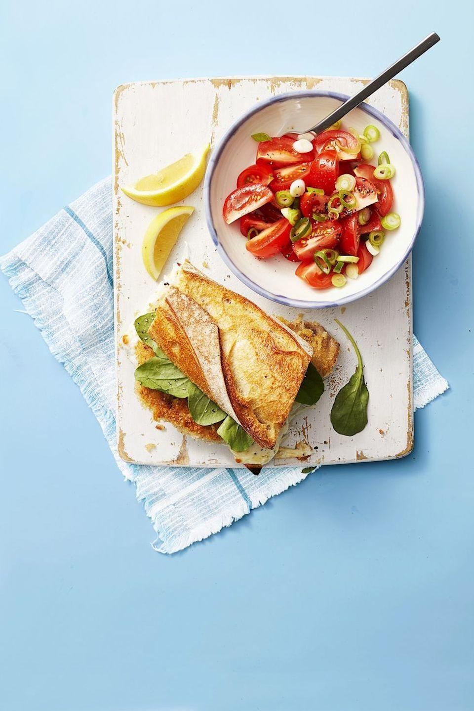 """<p>This crunchy, <a href=""""https://www.goodhousekeeping.com/food-recipes/healthy/g4081/healthy-sandwiches/"""" rel=""""nofollow noopener"""" target=""""_blank"""" data-ylk=""""slk:cheesy sandwich"""" class=""""link rapid-noclick-resp"""">cheesy sandwich</a> is the ultimate grab-and-go dinner and is ready in only 25 minutes!</p><p><em><a href=""""https://www.goodhousekeeping.com/food-recipes/easy/a27543087/pork-milanese-sandwich-with-tomato-salad-recipe/"""" rel=""""nofollow noopener"""" target=""""_blank"""" data-ylk=""""slk:Get the recipe for Pork Milanese Sandwich with Tomato Salad »"""" class=""""link rapid-noclick-resp"""">Get the recipe for Pork Milanese Sandwich with Tomato Salad »</a></em></p>"""