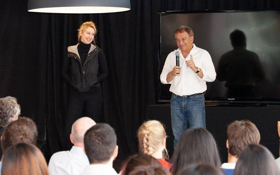 Theranos founder Elizabeth Holmes and former chief operating officer Sunny Balwani addressing the company's staff in 2015