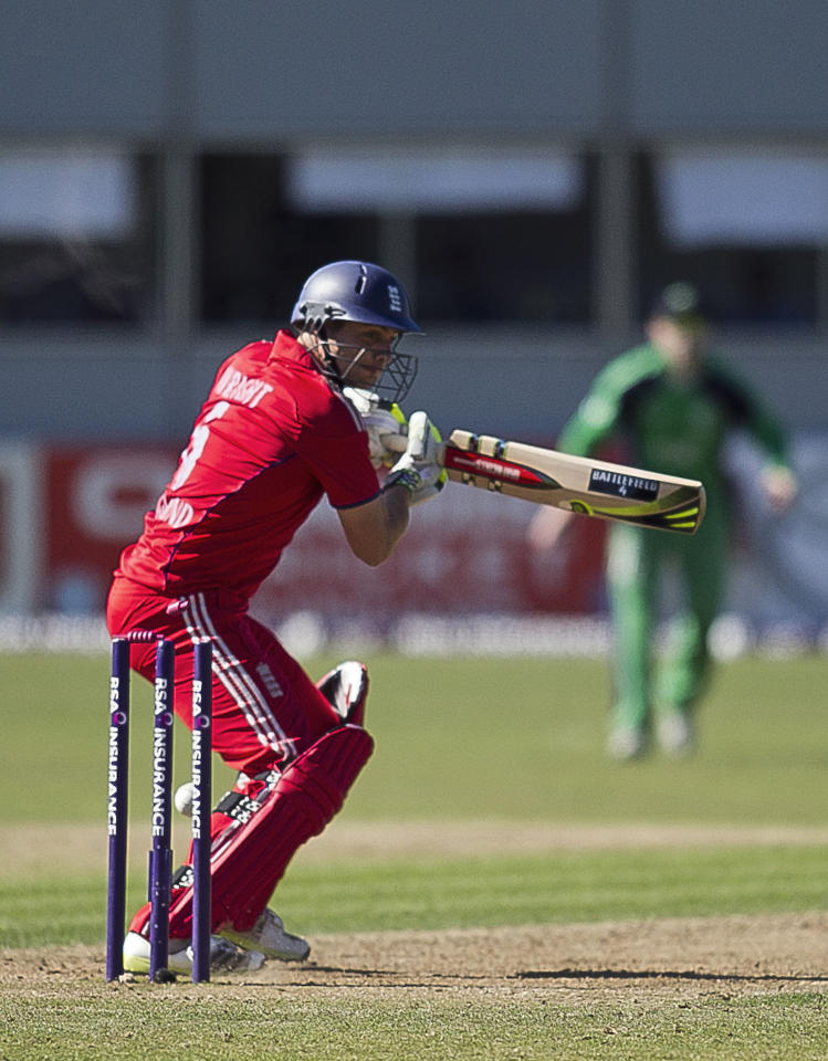 England's Luke Wright is bowled by Ireland's Tim Murtagh during the One Day International at The Village, Dublin.