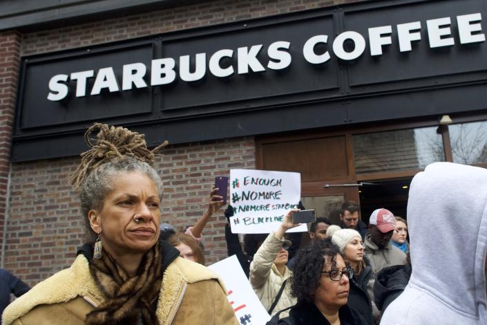 Protestors outside Starbucks