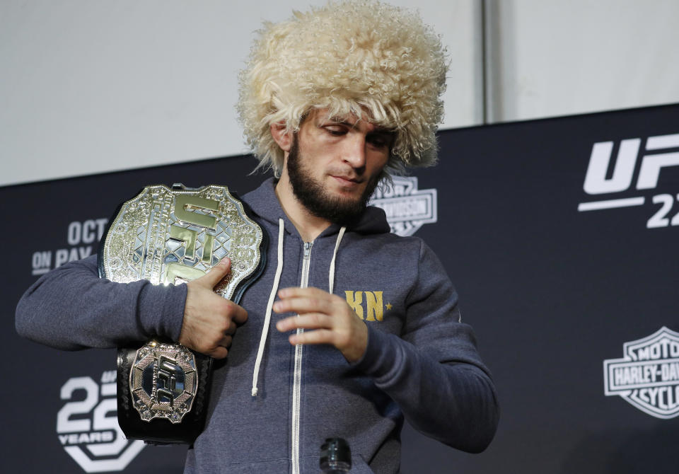 Khabib Nurmagomedov attends a news conference after the UFC 229 mixed martial arts event Saturday, Oct. 6, 2018, in Las Vegas. A brawl broke out after the main event between Khabib Nurmagomedov and Conor McGregor when Nurmagomedov climbed over the cage and set off a scuffle with another fighter in McGregor's corner. (AP Photo/John Locher)