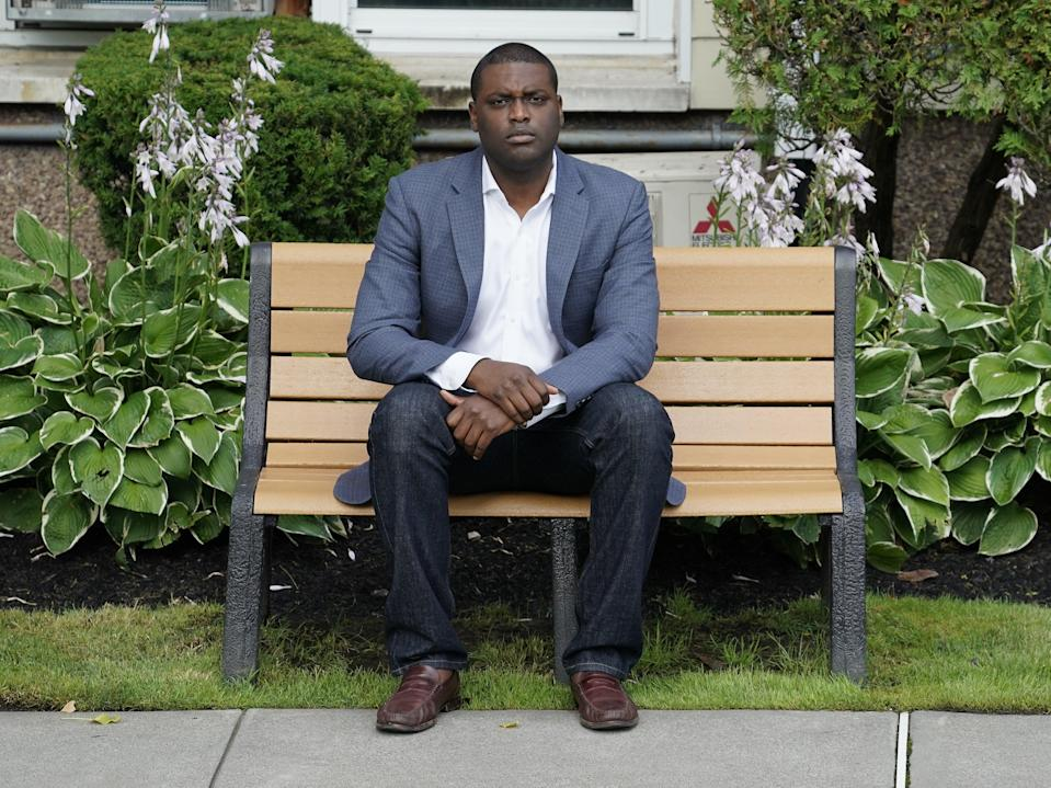 Mondaire Jones poses outside his home in Nyack, New York, July 23, 2020.  (AFP via Getty Images)