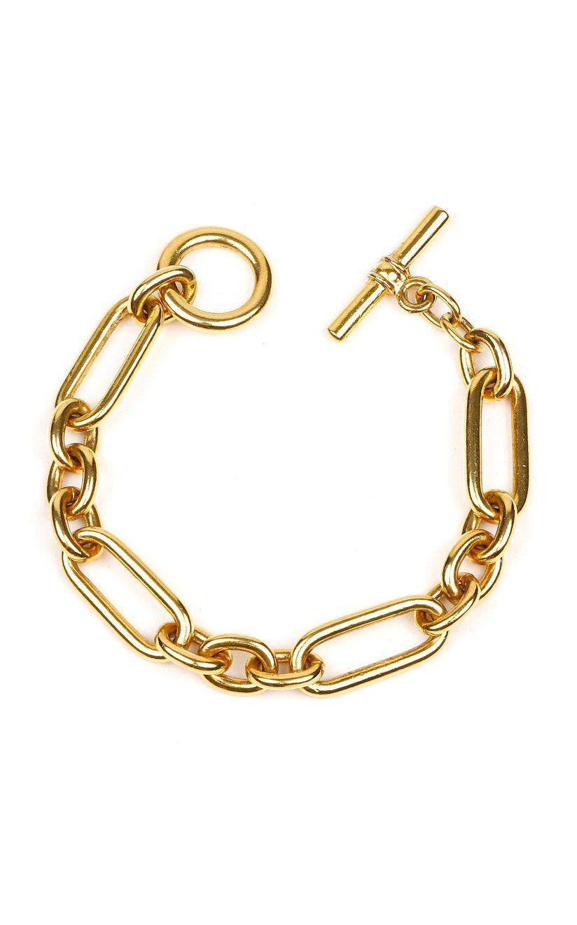 """<p><strong>Ben-Amun</strong></p><p>ModaOperandi.com</p><p><strong>$170.00</strong></p><p><a href=""""https://click.linksynergy.com/deeplink?id=6Km1lFswsiY&mid=37385&murl=https%3A%2F%2Fwww.modaoperandi.com%2Fben-amun-pf20%2Fgold-plated-bracelet-3%3Fsize%3DOS"""" rel=""""nofollow noopener"""" target=""""_blank"""" data-ylk=""""slk:Shop Now"""" class=""""link rapid-noclick-resp"""">Shop Now</a></p><p>Add chunky jewelry to everything with this bracelet. We're taking styling tips and wearing this over a sheer blouse for a unique touch. </p>"""