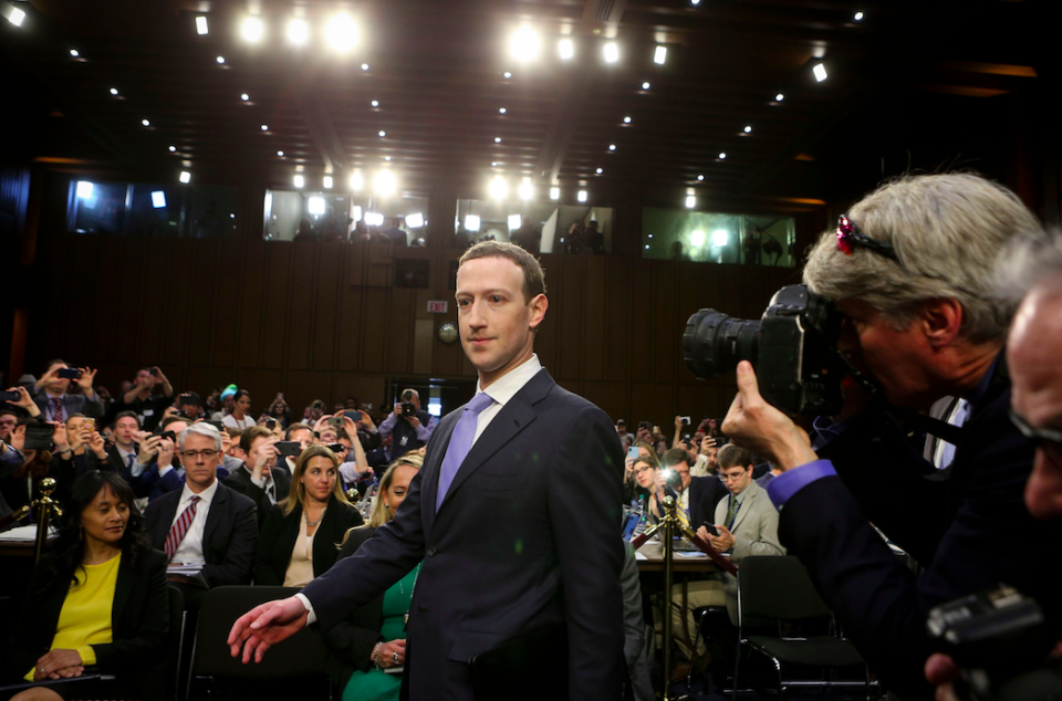 <em>Mr Zuckerberg vowed to investigate apps to discover if other companies had accessed data in a similar way (Rex)</em>