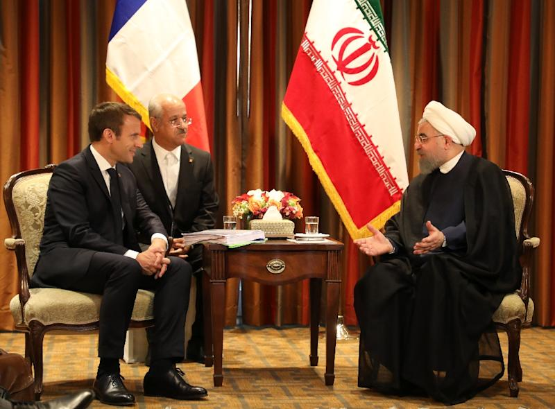 France's President Emmanuel Macron meets with his Iranian counterpart Hassan Rouhani in New York
