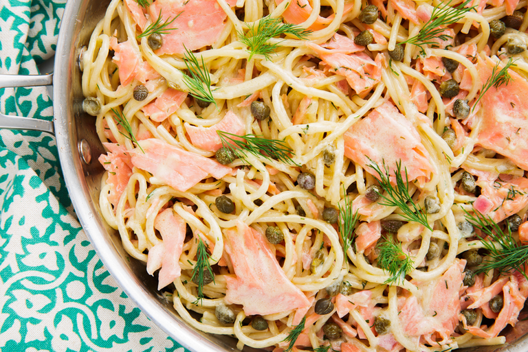 "<p>Smoked salmon pasta sounds really fancy, but the truth is, it's the easiest and fastest pasta we've ever made. It comes together in just under 30 minutes making it the perfect dish to whip up on a weeknight, but still good enough to impress your guests. </p><p>Get the <a href=""https://www.delish.com/uk/cooking/recipes/a29844059/smoked-salmon-pasta-recipe/"" rel=""nofollow noopener"" target=""_blank"" data-ylk=""slk:Smoked Salmon Pasta"" class=""link rapid-noclick-resp"">Smoked Salmon Pasta</a> recipe.</p>"