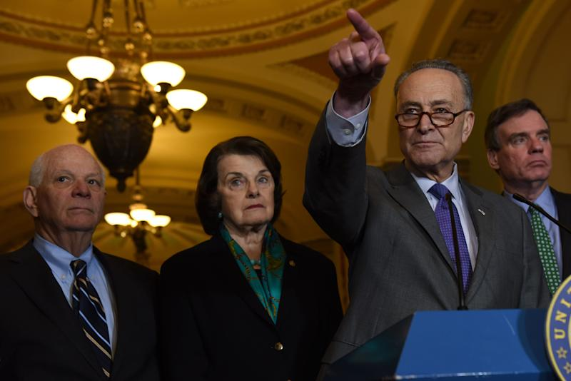 Sen.Charles Schumer (D-N.Y.), center right, addresses the media about the fallout from the resignation of NSA Michael Flynn on Capitol Hill on Feb. 15, 2016. Joining him were (from left to right): Sens. Ben Cardin (D-Md.), Dianne Feinstein (D-Calif.) and Mark Warner (D-Va.). (Photo: The Washington Post via Getty Images)