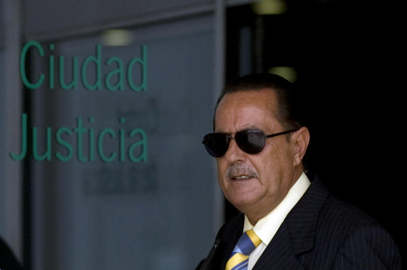 Former Mayor of Marbella, Julian Munoz, leaves the Malaga court on June 28, 2012. The trial of Spanish singer Isabel Pantoja standing accused of money laundering, opened on June 28 in Malaga. AFP PHOTO/JORGE GUERRERO (Photo credit should read Jorge Guerrero/AFP/GettyImages)