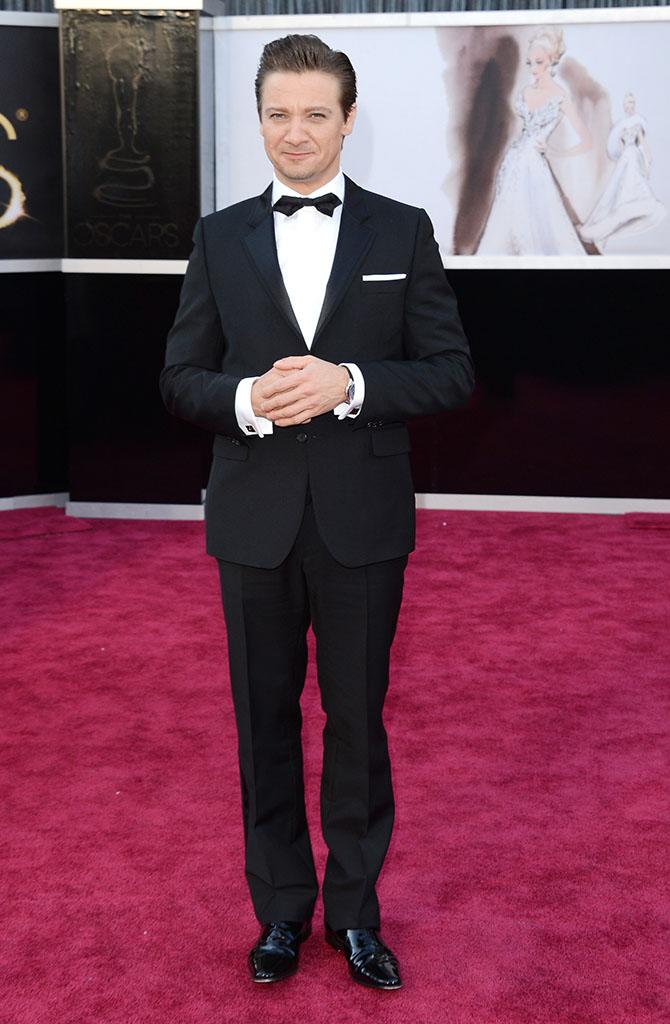 Jeremy Renner arrives at the Oscars in Hollywood, California, on February 24, 2013.