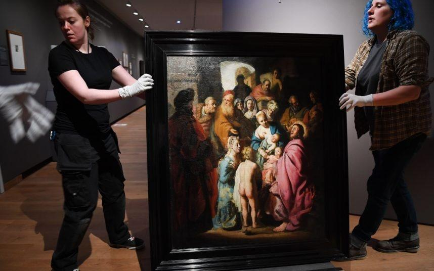 The painting - Let the Little Children Come to Me - was unearthed in Amsterdam.CREDIT: REX - ANDY RAIN/EPA-EFE/REX