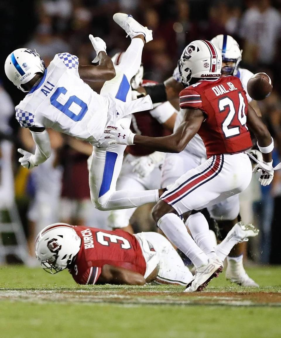 Kentucky wide receiver Josh Ali fumbled the ball against South Carolina on Saturday.
